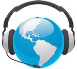 The world speaking through a headset